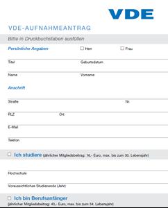 Bild von VDE Aufnahmeantrag für persönliche Mitgliedschaft